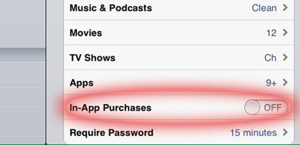 How to turn on in app purchases on iphone