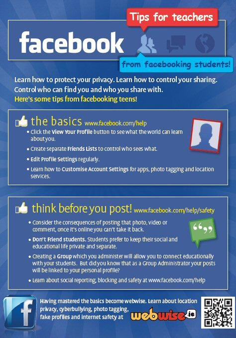 Facebook tips for teachers