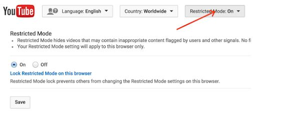 How to take restricted mode off youtube