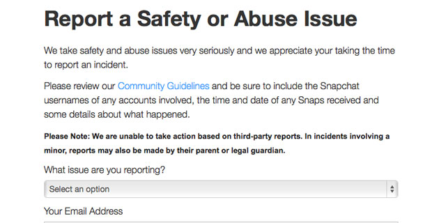 Report snapchat account