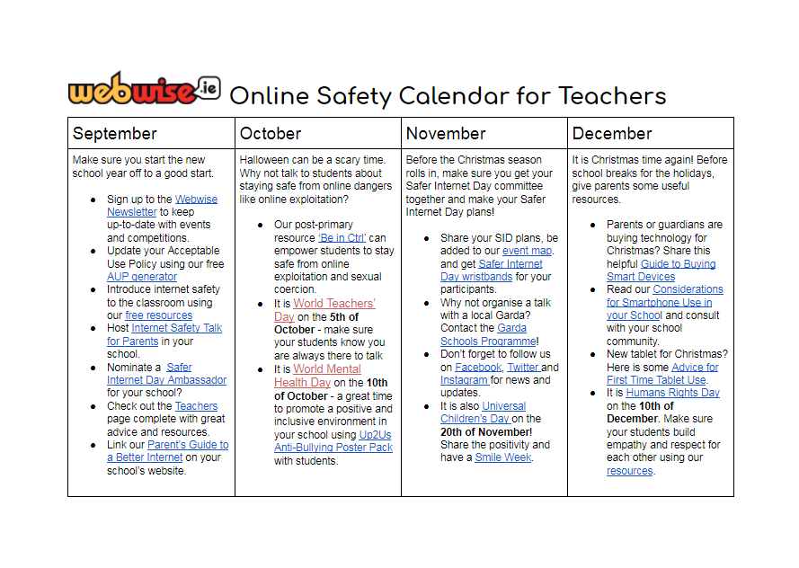 Online Safety Calendar