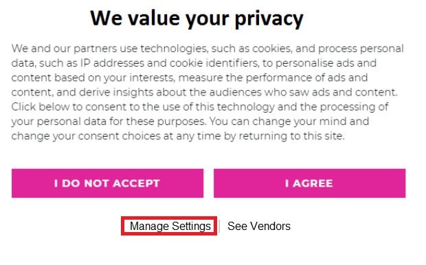 Manage settings cookies