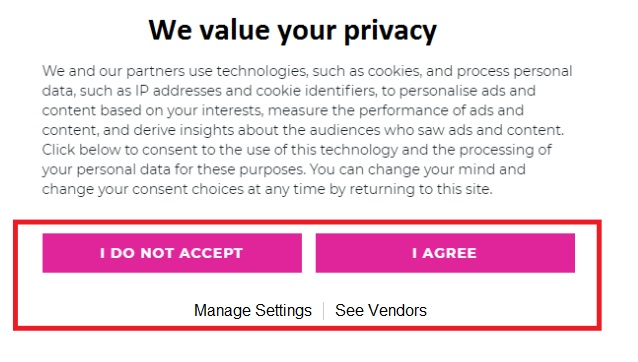 Website Privacy Settings